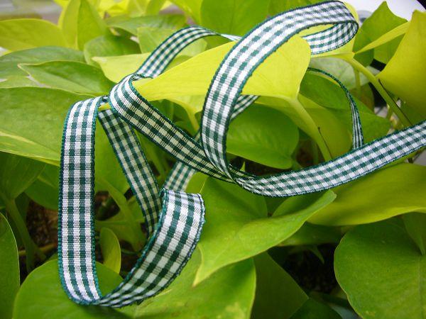 緞帶-10 小綠格子帶(寬1cm)*5碼