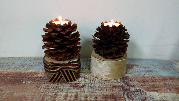 燭台-1  聖誕松果燭台*1
