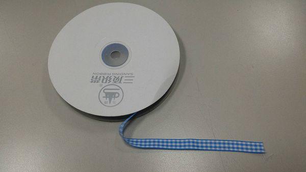 緞帶-14 藍色格子緞帶(寬1cm)*1卷(25碼)